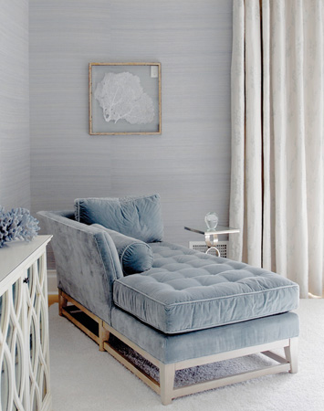 Soft blue velvet chaise