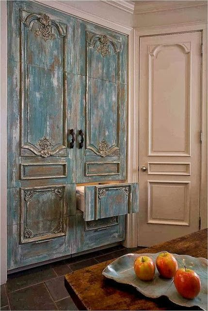 Blue distressed refrigerator